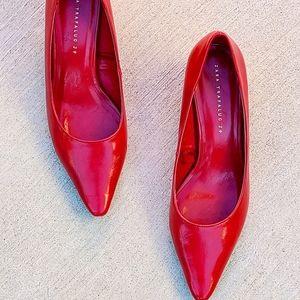 Zara Red Leather Block Heels   8